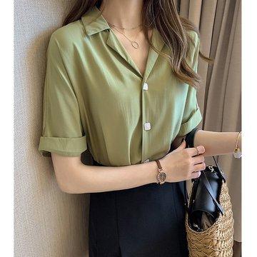 Season New Fashion Style Shirt Women's Short-sleeved Design Sense Female Niche Shirt Loose Han Fan Shirt