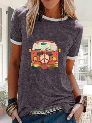 Cartoon Bus Printed T-shirt