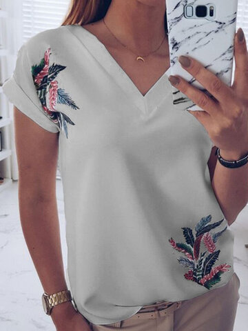 Print Feather Short Sleeve T-Shirt