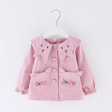 Cute Girls Button Jacket For 1-5Y