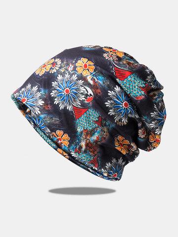 Women Dual-use Printed Scarf Beanie Hat