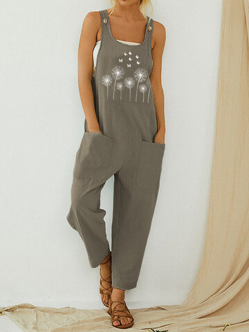 Straps Butterflies Flower Print Casual Jumpsuit For Women