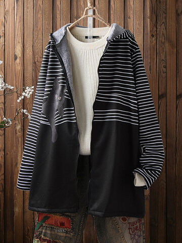 Cat Striped Print Vintage Hooded Coat
