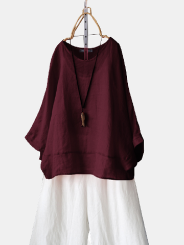 Solid Color Dolman Sleeve Blouse