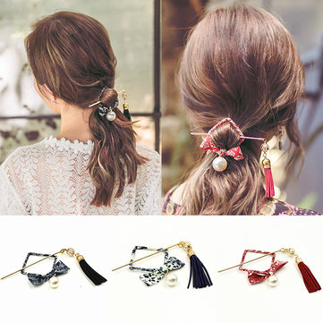 Ethnic Square Bowknot Tassel Hairpin