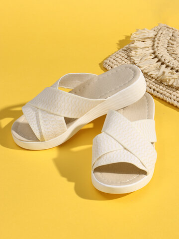 Casual Cross Stretch Band Wedges Slippers