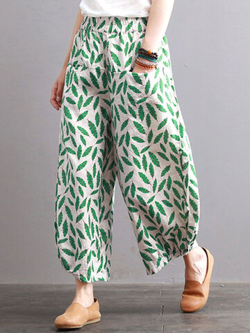 Print Leaves Oversized Wide Leg Pants