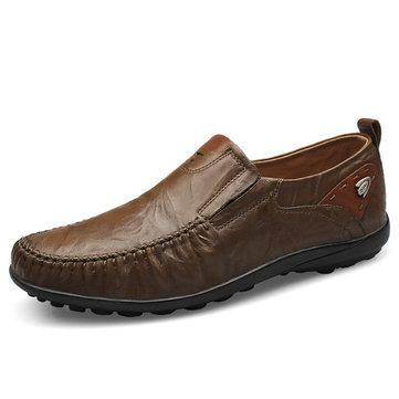 Deslizamento macio do estilo genuíno do couro genuíno em sapatas do negócio para homens