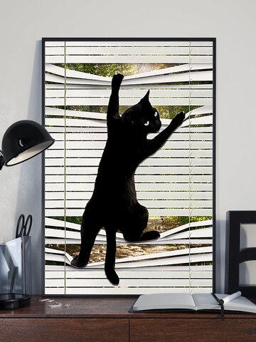 Motif de chat noir peinture sur toile sans cadre Art mural toile salon décor à la maison