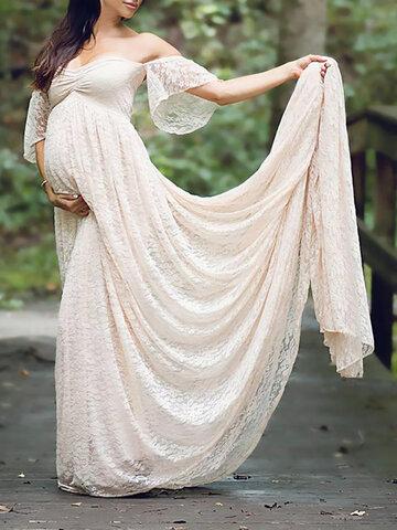 Lace Off Shoulder Maternity Maxi Dress