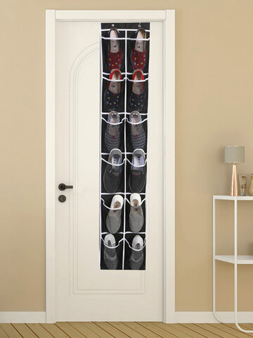 12 Grid Door Behind The Shoe Storage Hanging Bag Mesh Cloth Pocket Slippers Finishing Non-woven Storage Bag