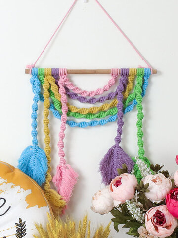 Nordic Bohemian Woven Tapestry Color Cotton Thread Leaf Tassel Home Decoration Pendant