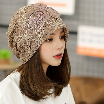 Flowers Beanie Embossed knitting Cutout Caps