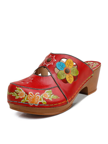 Socofy Floral Print Leather Mule Clog Sandals