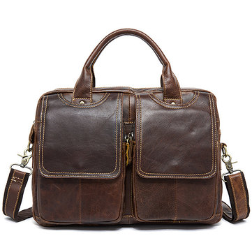 Genuine Leather 14 Inches Laptop Bag Briefcase Crossbody Bag