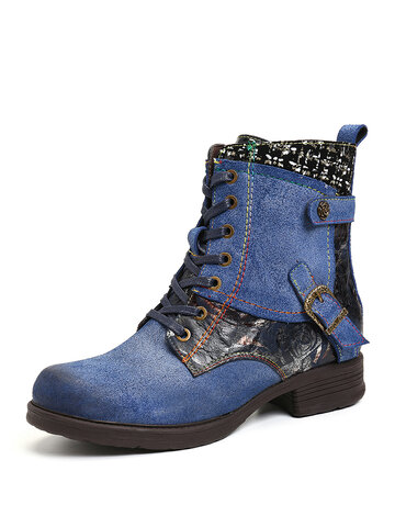 Leather Splicing Metal Buckle Short Boots