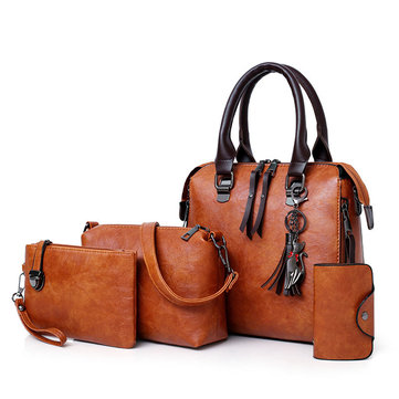 4 PCS Women Leather Handbags Vintage Crossbody Bags