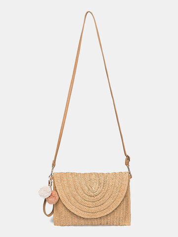 Fluffy Ball Flap Crossbody Bag Straw Bag