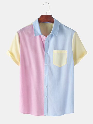 Contrast Color Short Sleeve Shirts