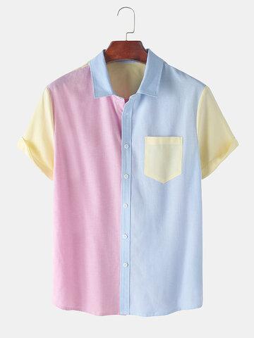 コントラストカラーの半袖シャツ