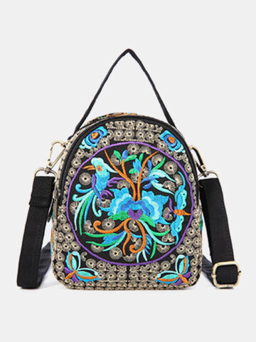Embroidery Canvas Crossbody Bag Cell phone Pouch Coin Purse