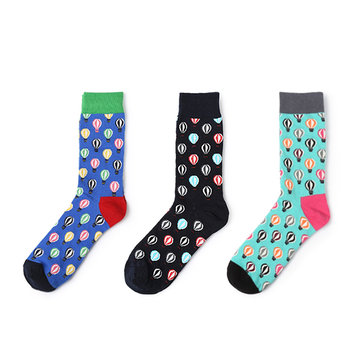 Men Classic Cotton Hot Air Balloon Socks Male Breathable Soft Personalized Long Socks фото