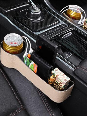 Car Seat Gap Storage Box USB Charging Storage Box Multi-function Leather Car Water Cup Holder
