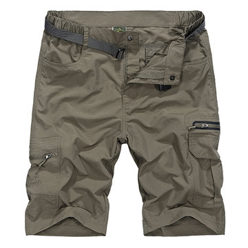 Outdoor Quick-drying Knee Length Shorts, Khaki dark gray dark green