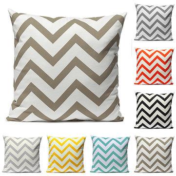 Vintage Zig Zag Wave Print Cushion Cover Throw Pillow Case