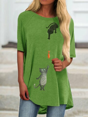 Cartoon Cat Print Short Sleeve Plus Size Casual T-Shirt