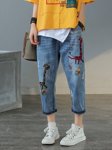 Giraffe Embroidery Ripped Jeans