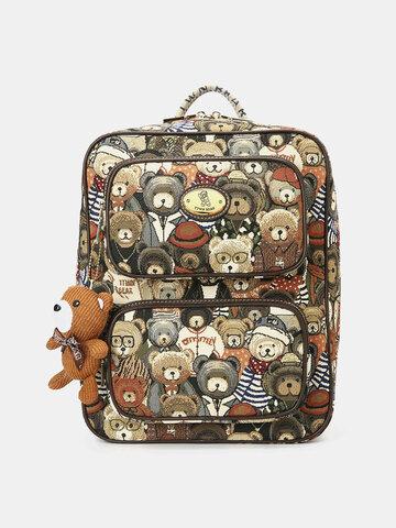 Bear Pattern Large Capacity Backpack