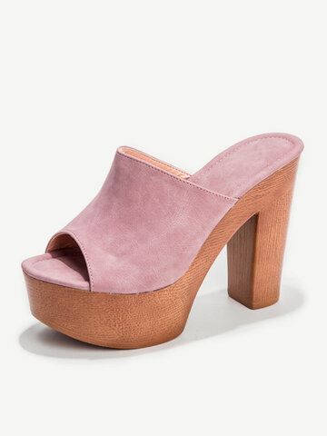 Suede High Chunky Heels Slippers