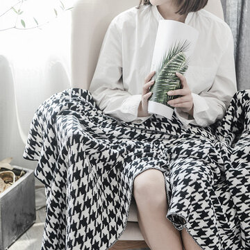 Cotton Nordic Houndstooth Knitted Throw Blanket Autumn Spring Soft Sleeping Blanket Sofa Cover Blanket Knee Blanket