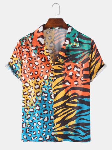 Zebra Stripe & Leopard Print Revere Shirt