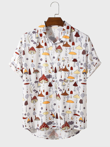 Cartoon Mushroom Print Shirts