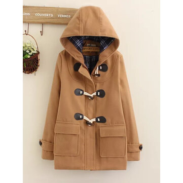 Horn Button Hooded Casual Coat