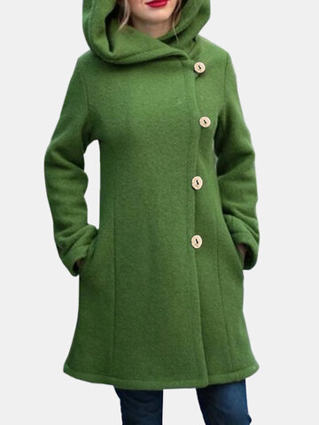 Solid Color Hooded Warm Coat