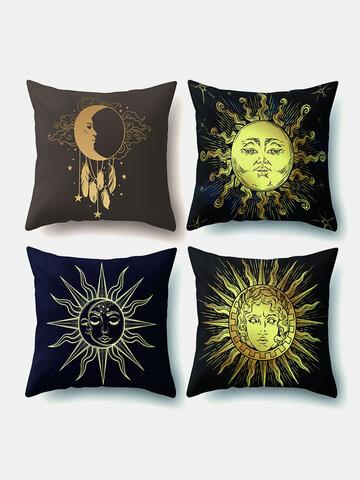 4 Pcs Sun Moon Mandala Pattern Pillowcase Throw Pillow Cover Home Decoration Planets Cushion Cover