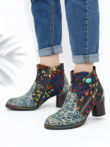 Embroidery Printing Leather Side Zipper Ankle Boots