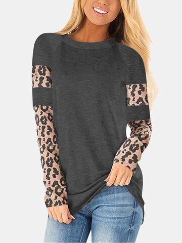 Leopard Printed Long Sleeve T-shirt