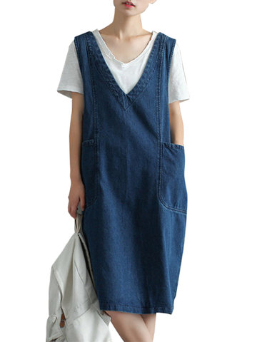 Sleeveless Pockets Denim Dresses