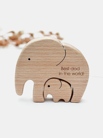 Memorial Gifts Father's Mother's Day Baby Birthday Lettering Wooden Elephants Family Craft Ornaments Homde Desk Docor
