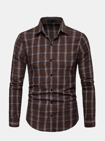 Mens Casual Breathable Plaid Slim Shirt, Brown