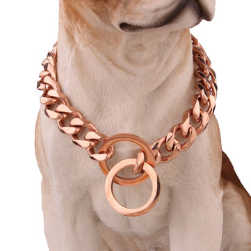 Pet Dog Collar Chain Stainless Steel Link Choke Solid Neckla