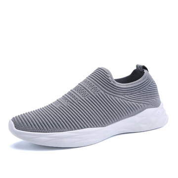 Men Knitted Fabric Running Walking Shoes