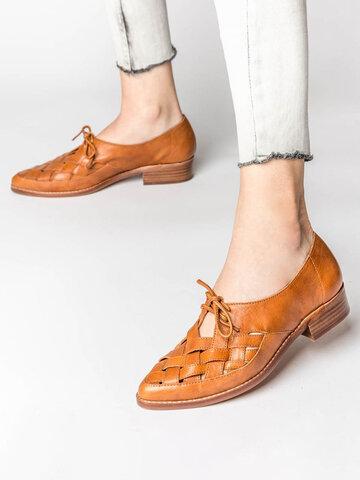 Плетеные лоферы на блочном каблуке со шнуровкой