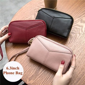 Genuine Cowhide Women 6.3 Inches Phone Bag Clutch Wallet