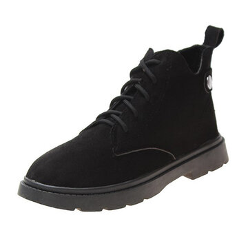 Suede Lace Up Short Boots