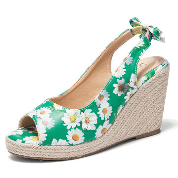 Daisy Decor Wedges Sandals